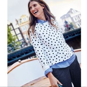 Boden Statement Sweatshirt Black Velvet Polka Dots